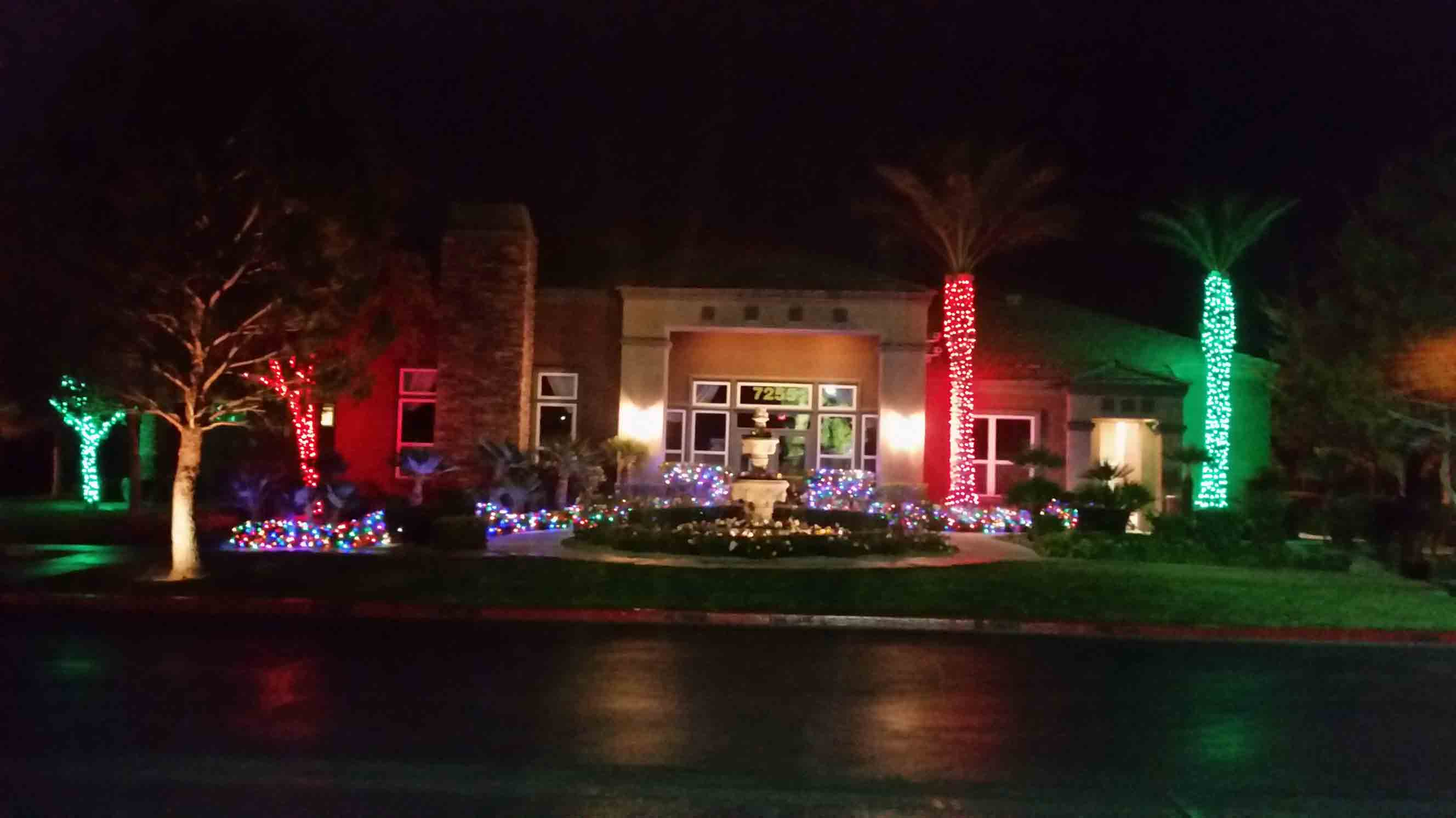 Apartment office building decorated by Holiday Decorations in Las Vegas