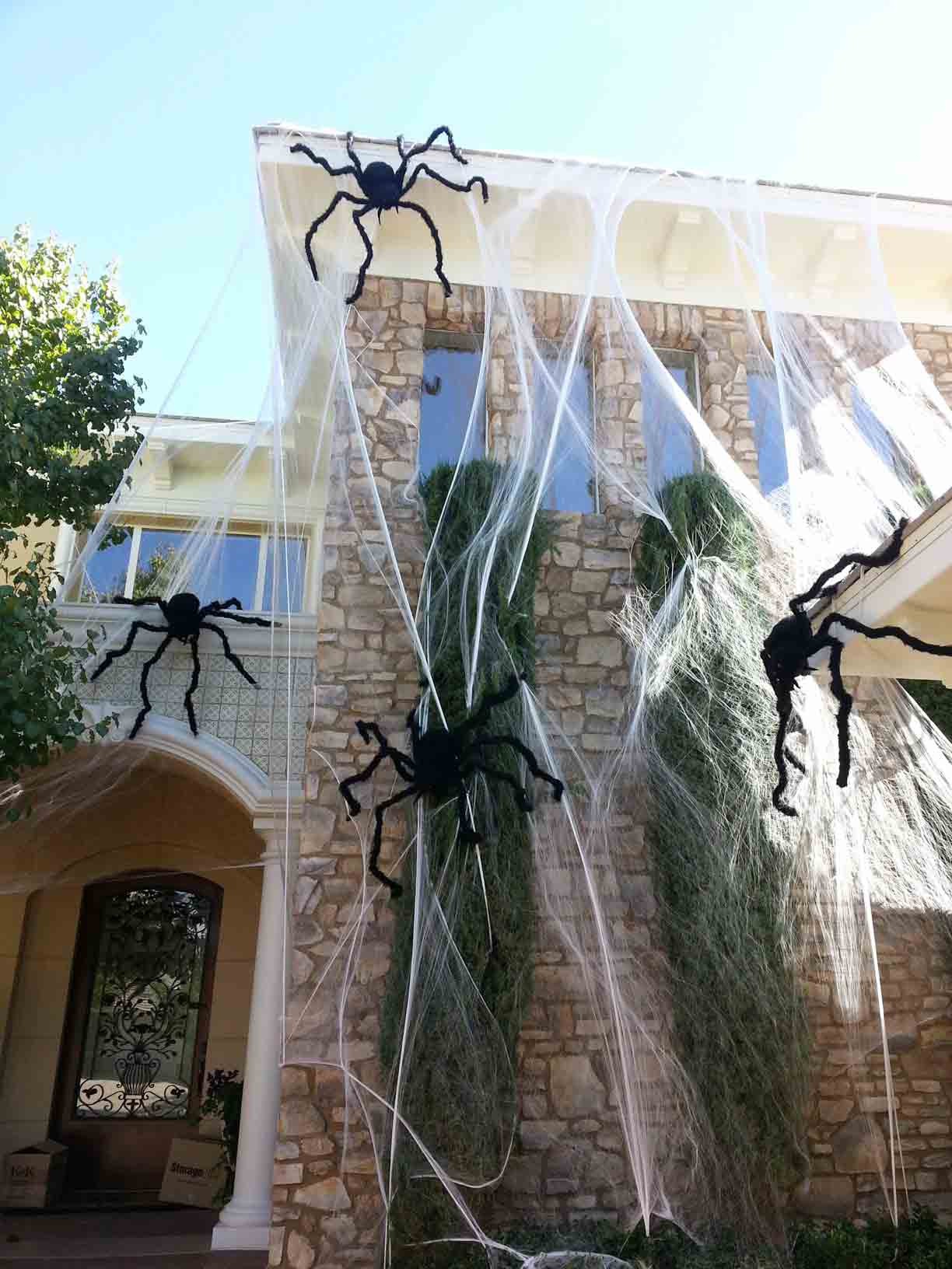 Spider web Halloween decor by Holiday Decorations in Las Vegas