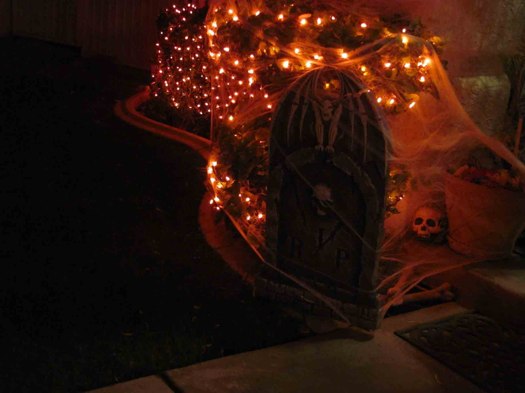 Halloween tombstone and lighting install by Holiday Decorations in Las Vegas