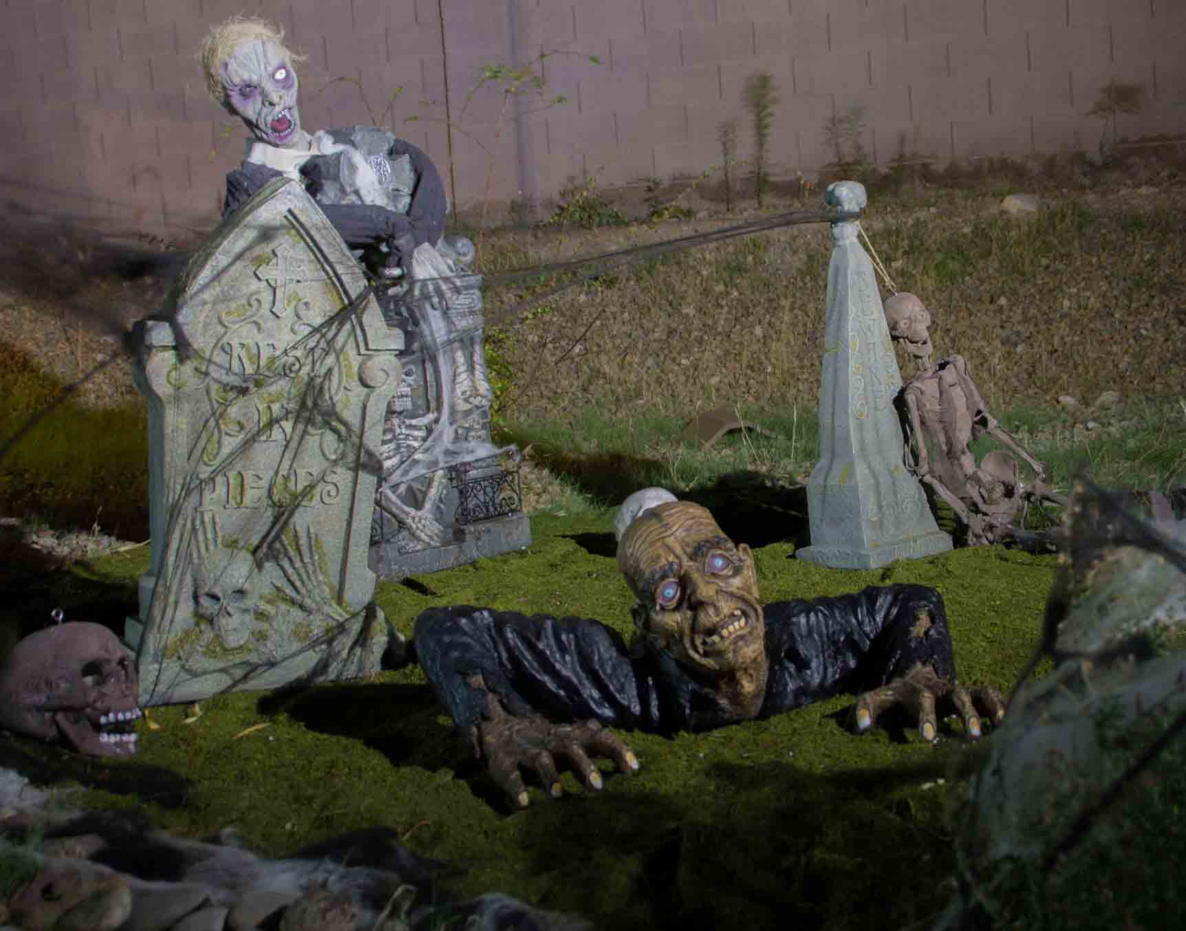 Halloween graveyard install by Holiday Decorations in Las Vegas