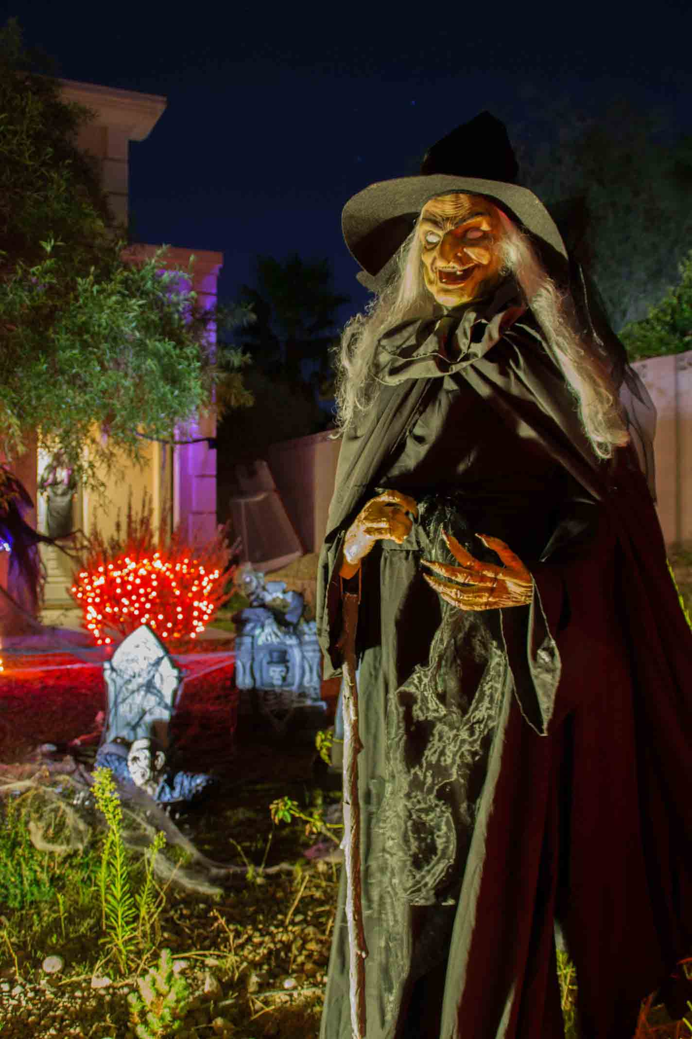 Halloween witch rental by Holiday Decorations in Las Vegas