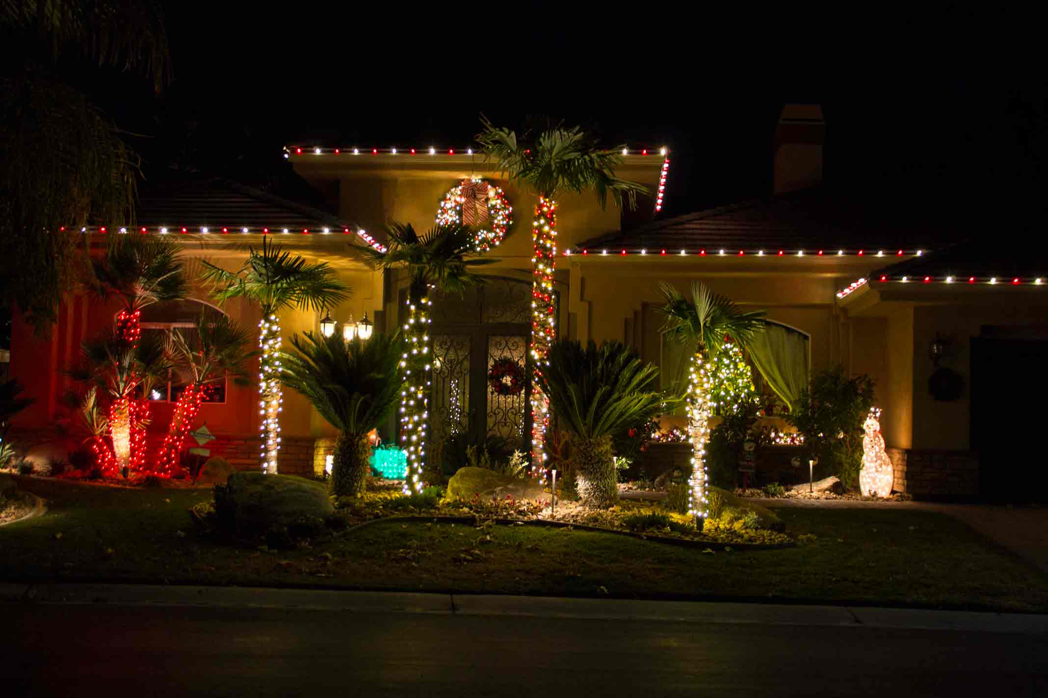 Red and white LED traditional light installation by Holiday Decorations in Las Vegas