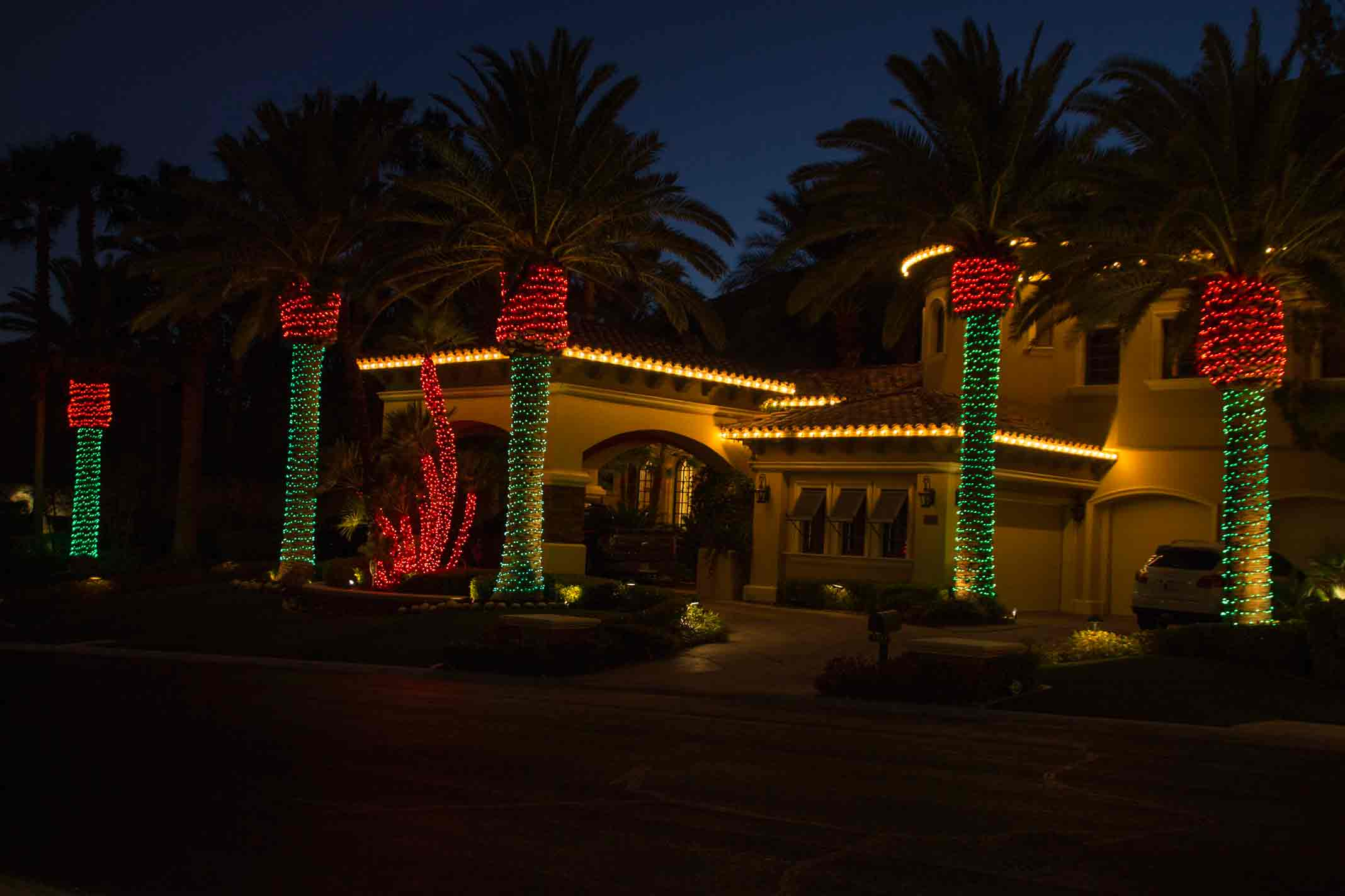 red and green palms decorated by Holiday Decorations in Las Vegas