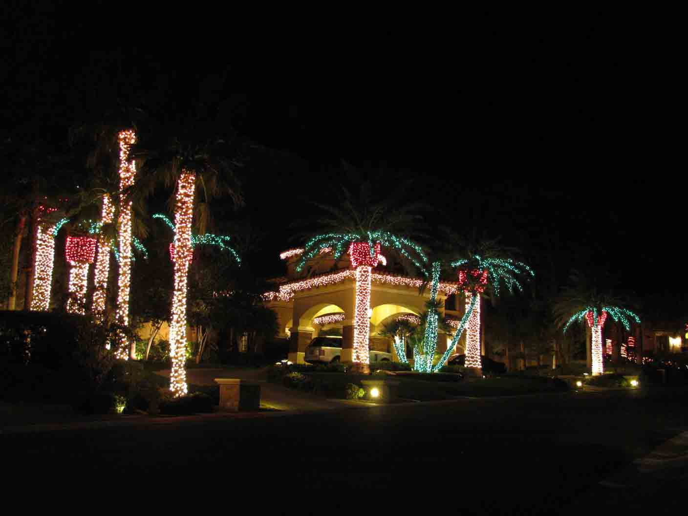 Red Rock holiday lights by Holiday Decorations in Las Vegas