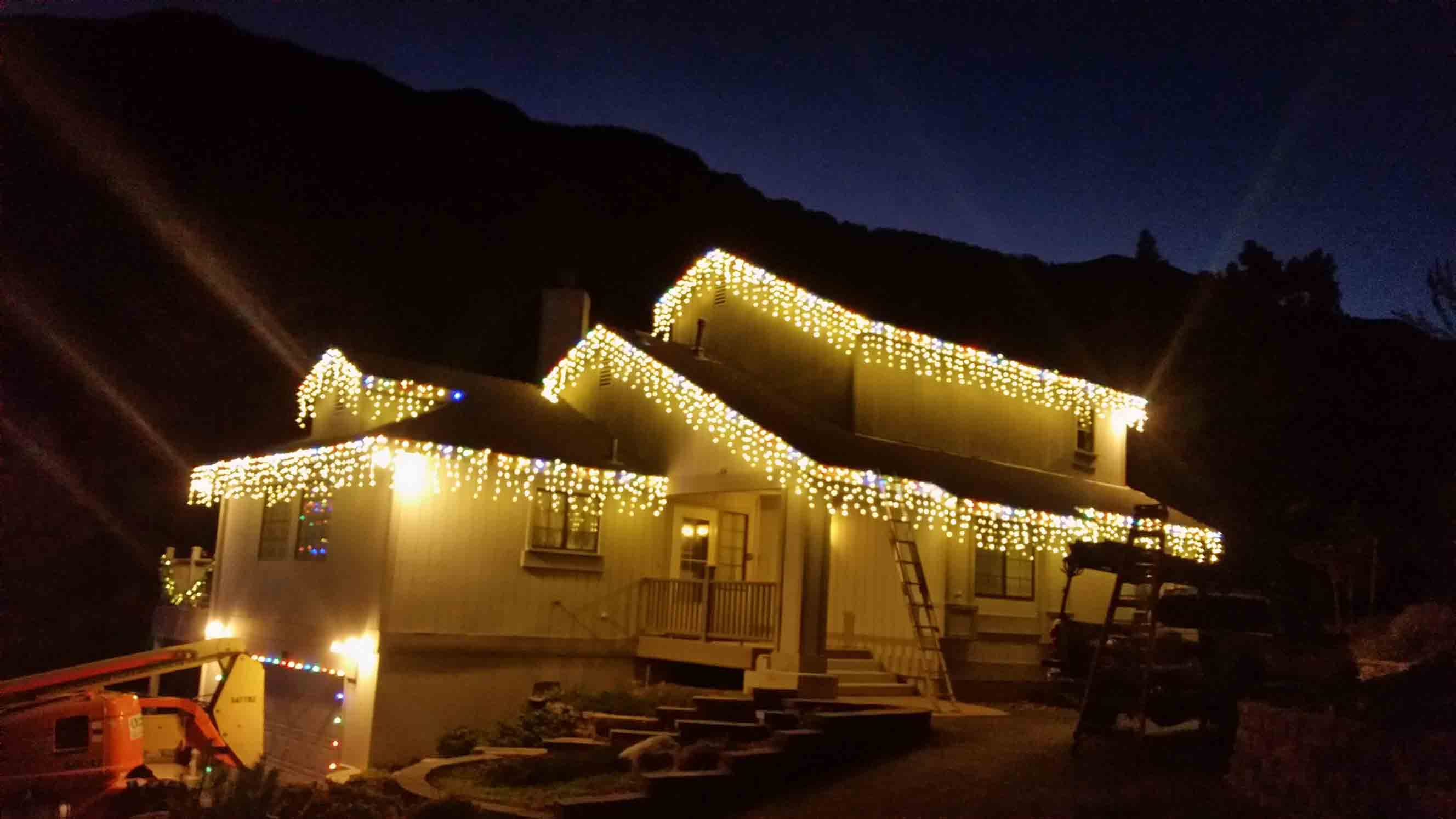 LED icicle installation by Holiday Decorations in Las Vegas