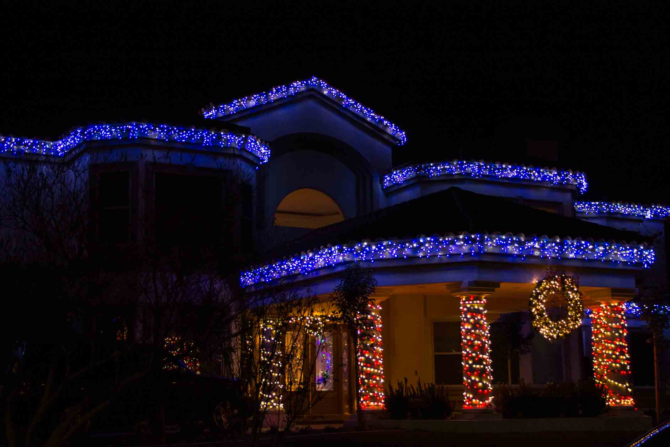 Residential cool white and blue icicles by Holiday Decorations in Las Vegas